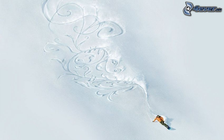 snowboardåkare, kulle, snö, ornament