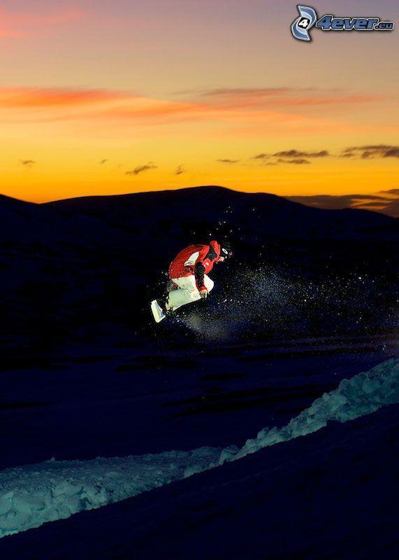 snowboarding, hopp, kvällshimmel