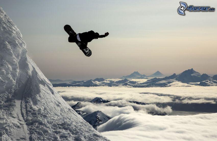 snowboarding, hopp, ovanför molnen, snöklädda berg