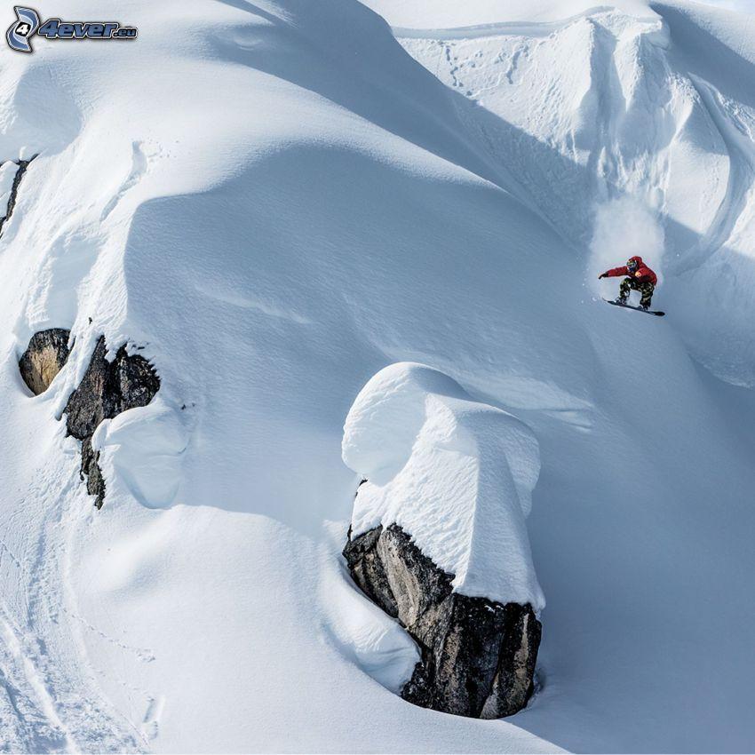 snowboarding, hopp, snö