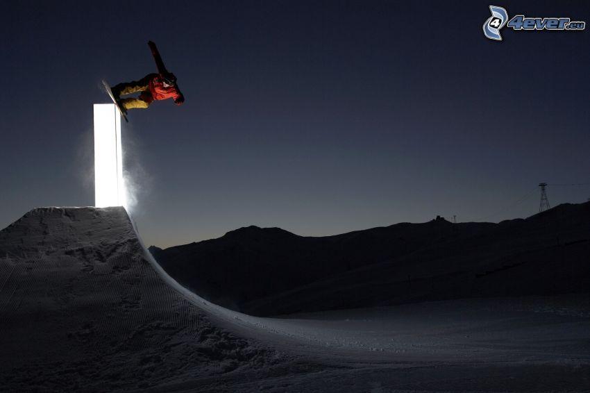 snowboarding, natt, hopp