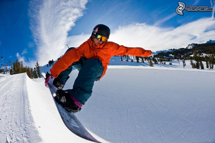 snowboarding, snöigt landskap