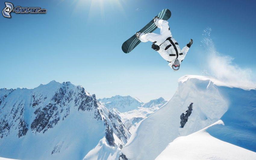 snowboarding, snöklädda berg, hopp