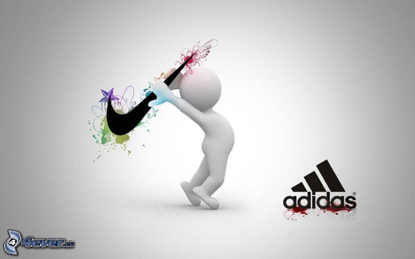 Adidas, Nike, karaktär