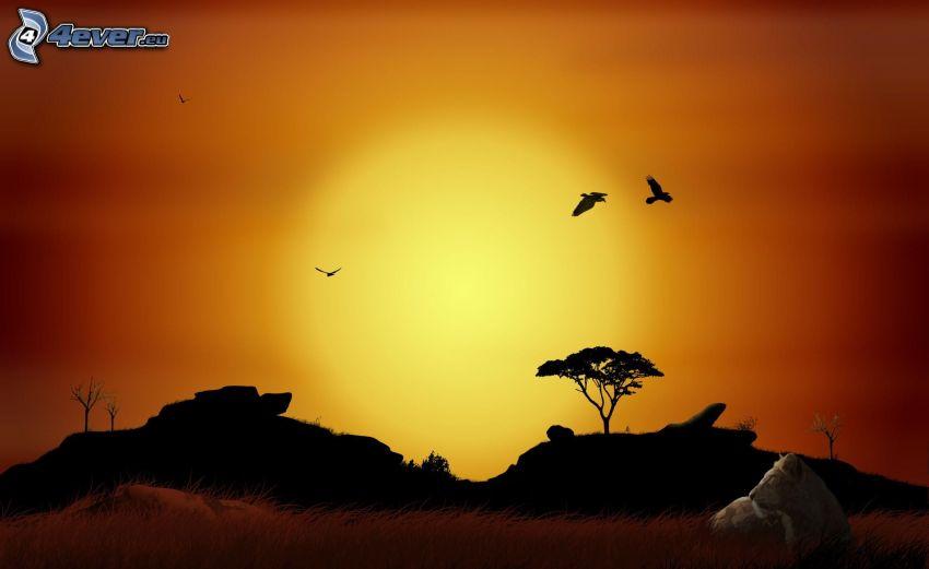 Afrika, silhuett av horisont