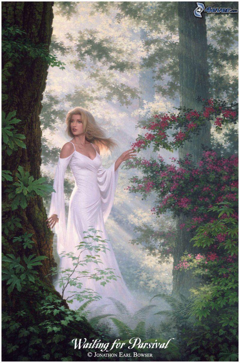 älva i skog, vit klänning