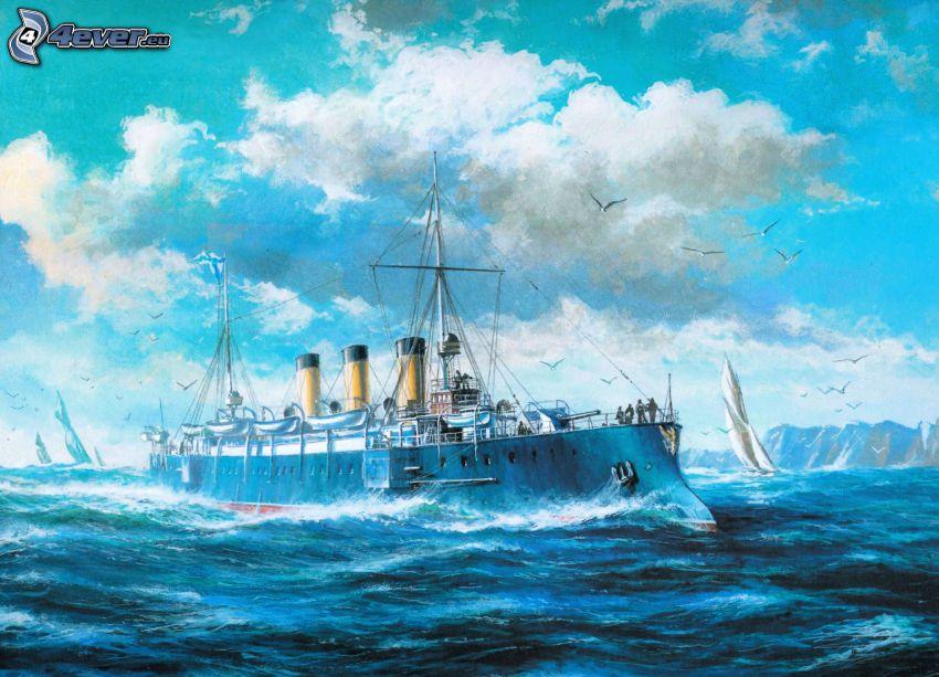 ångbåt, båt, hav, målning