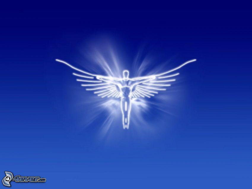 ängel, blå bakgrund, sken