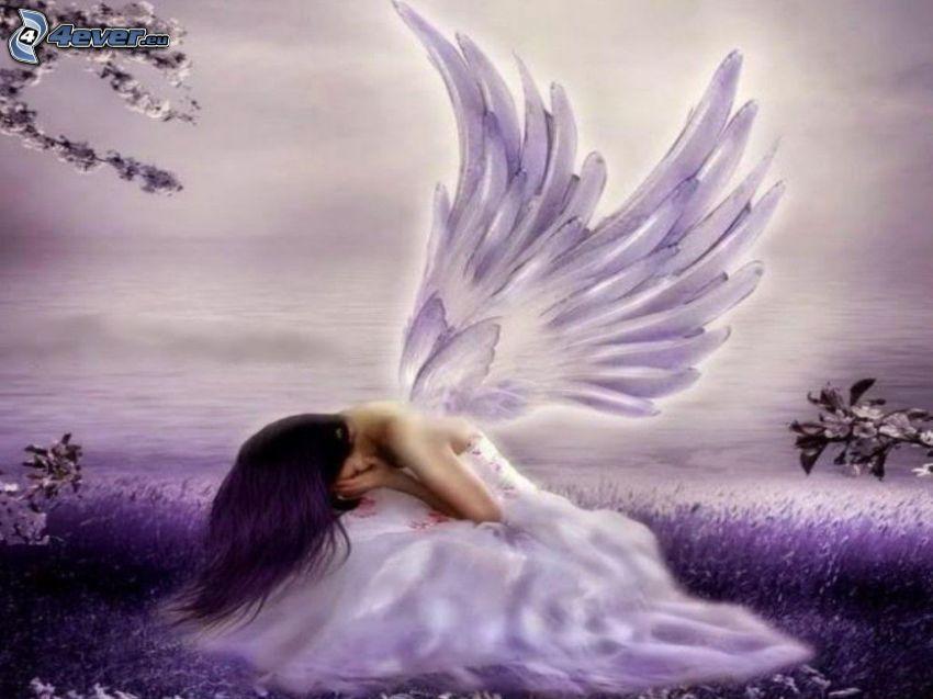 ängel, lila bakgrund