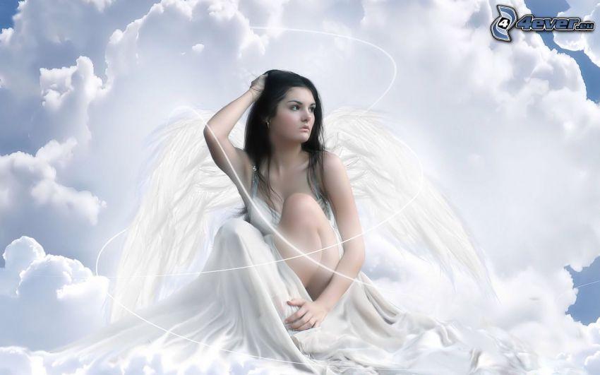ängel, moln