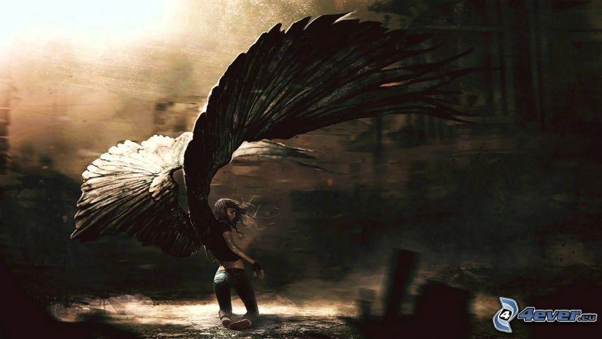 ängel, svarta vingar