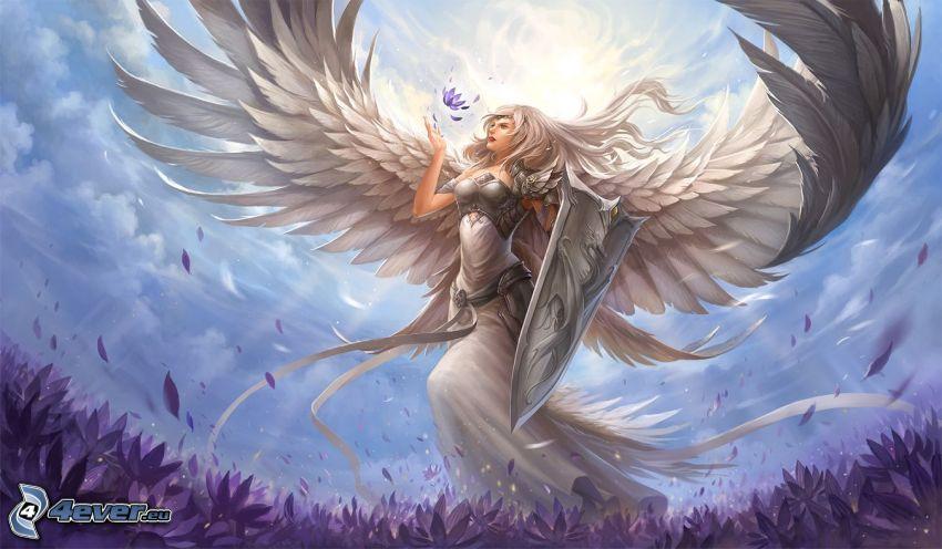 ängel, vingar, lila blommor