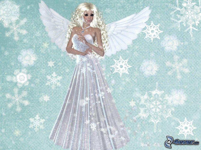 ängel, vit klänning, snöflingor