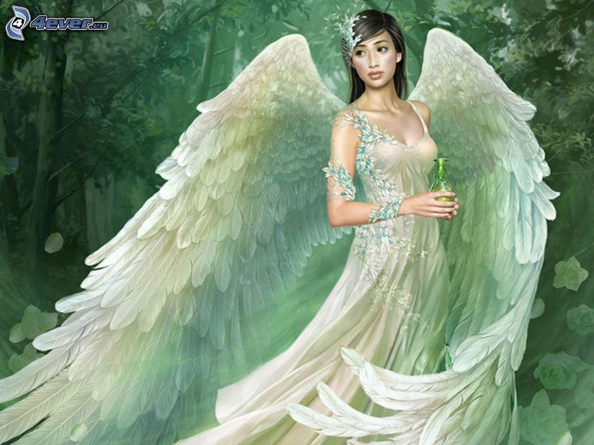 ängel, vit klänning, vingar