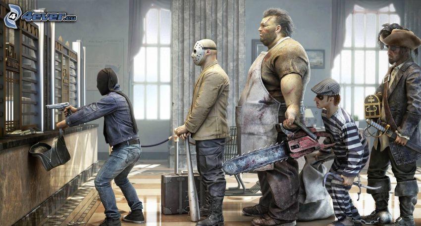 angrepp, bank, man med vapen, tjuvar