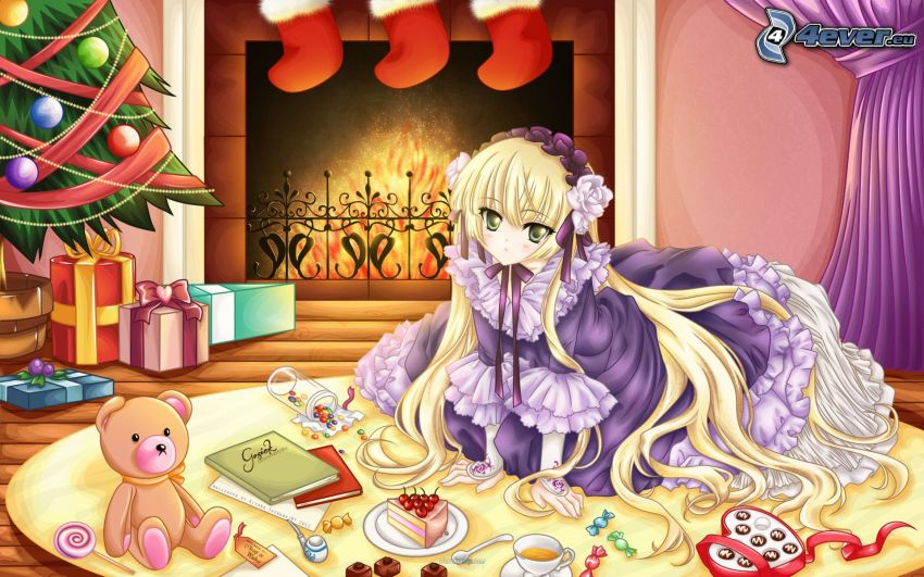 anime flicka, jul, gåvor, julgran