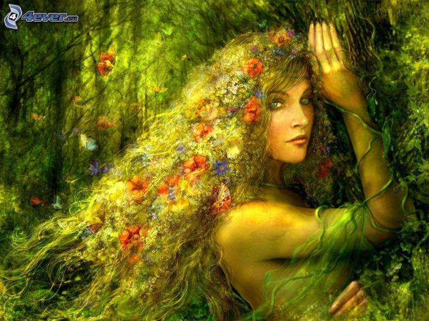 älva i skog, blommor, hår, fjärilar