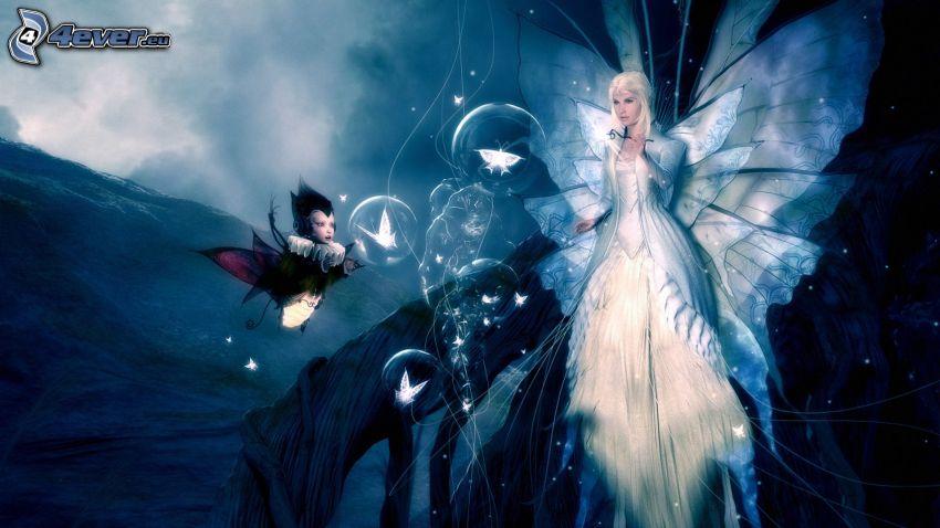 ängel, alv, bubblor