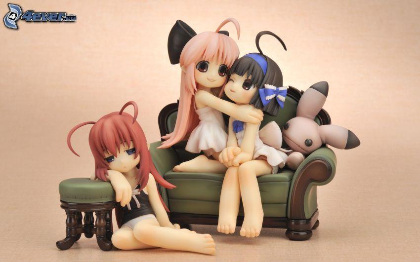 anime figurer, soffa