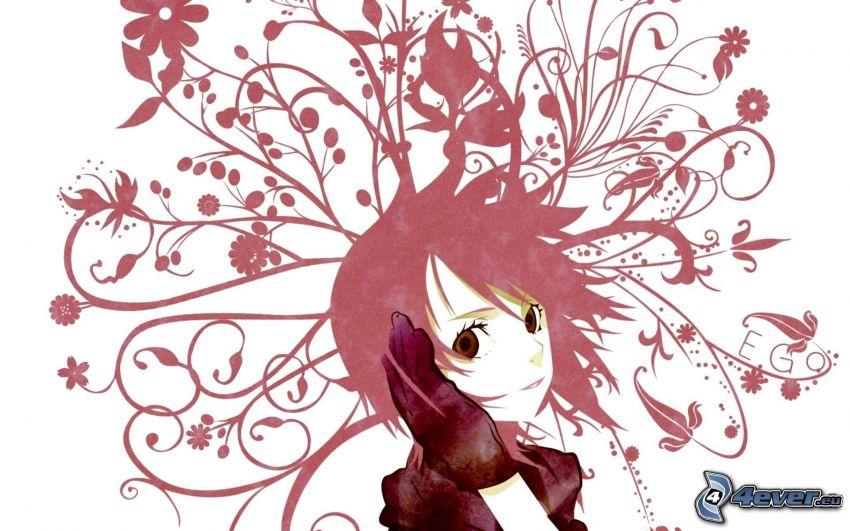 anime flicka, abstrakta blommor