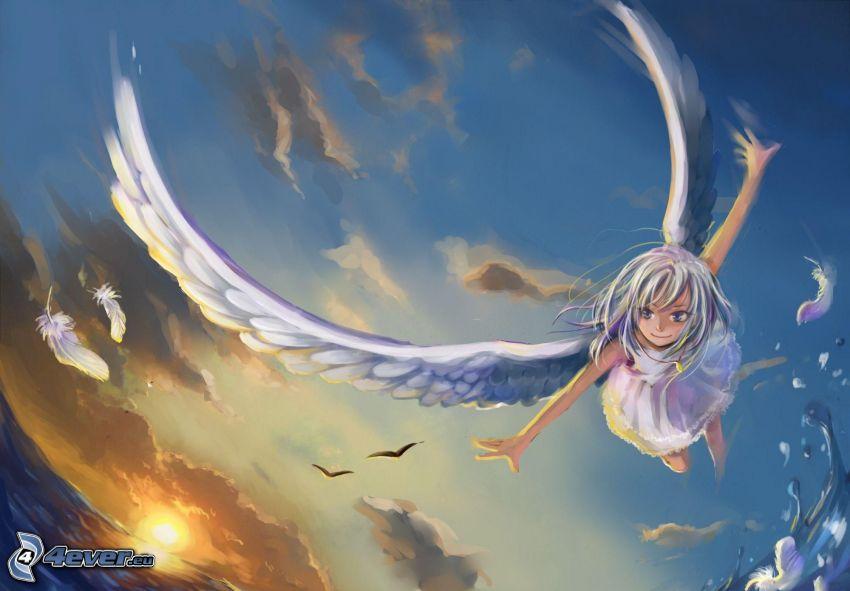 anime flicka, ängel, flyg