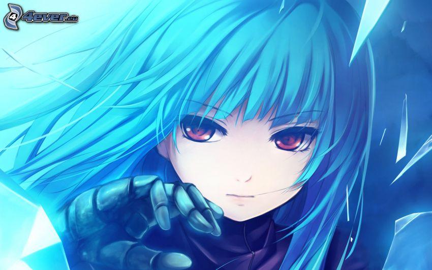 anime flicka, blått hår
