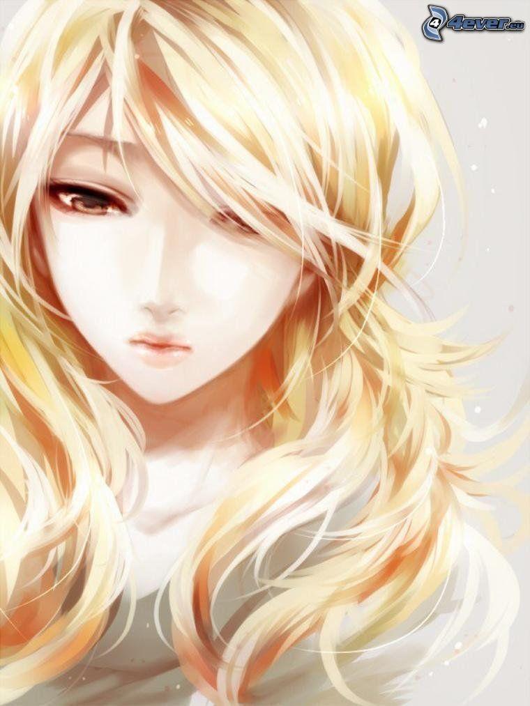 anime flicka, blondin