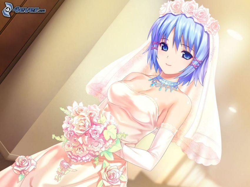 anime flicka, brud, blått hår