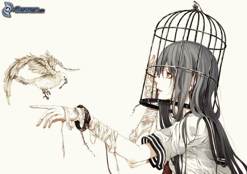 anime flicka, duva, bur, nyckel