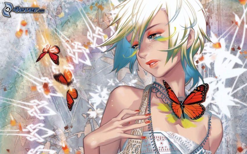 anime flicka, fjärilar