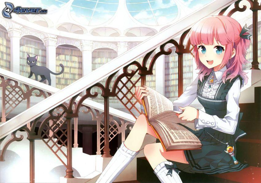 anime flicka, flicka med bok, svart katt, bibliotek