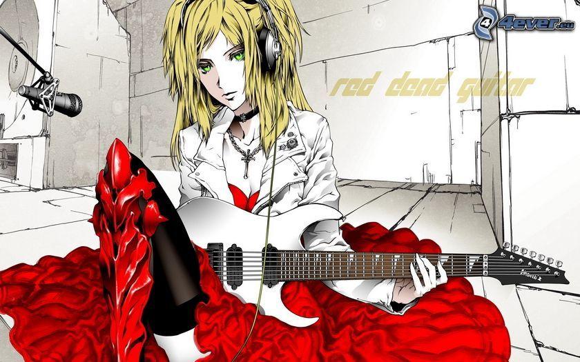 anime flicka, flicka med gitarr, tjej med hörlurar