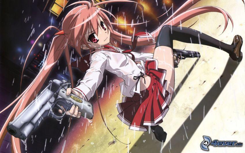 anime flicka, flicka med vapen