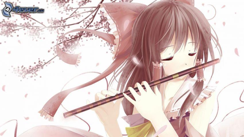 anime flicka, flöjtspel