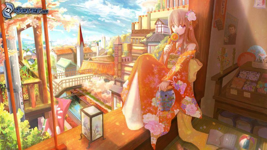 anime flicka, fönster, utsikt