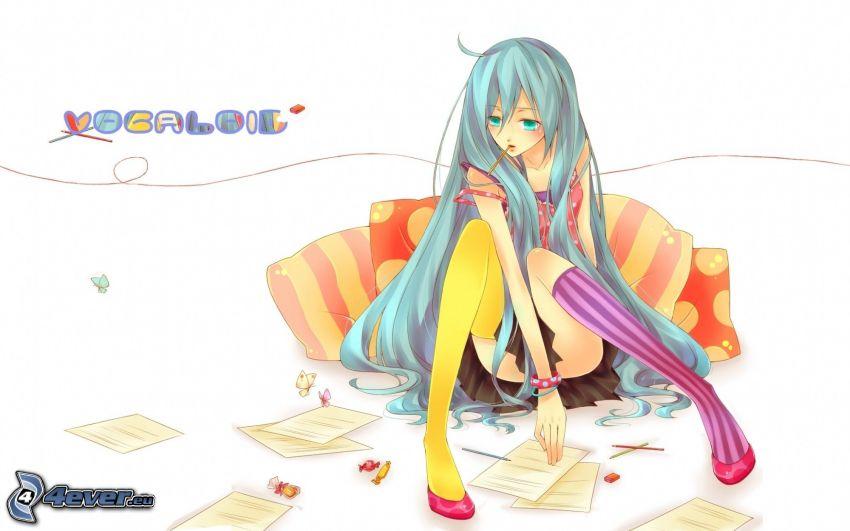 anime flicka, långt hår