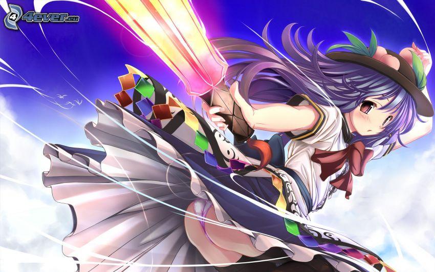 anime flicka, lila hår, flicka med svärd