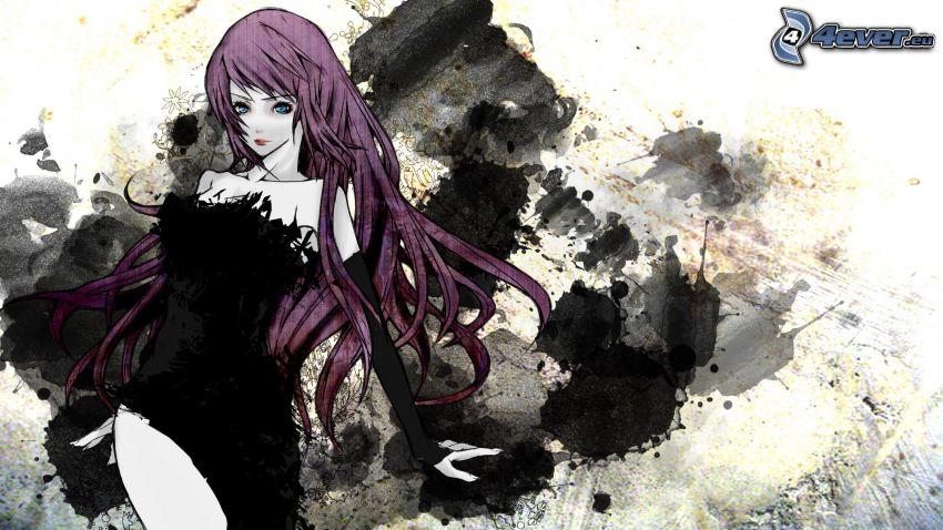 anime flicka, lila hår