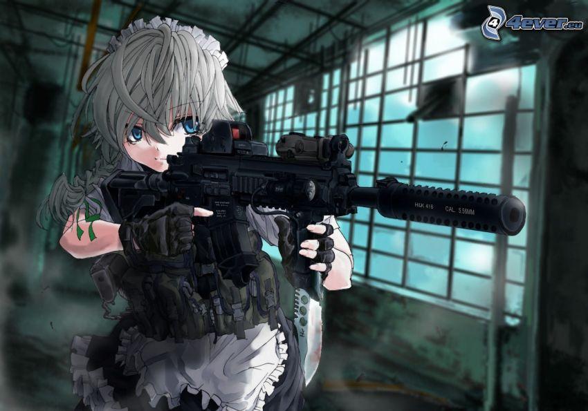 anime flicka, maskingevär