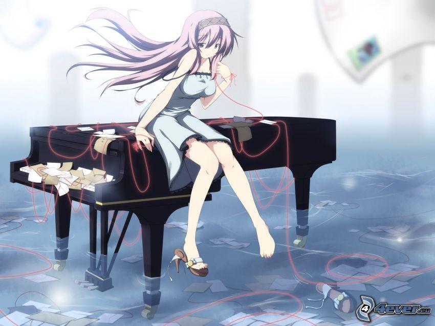 anime flicka, piano