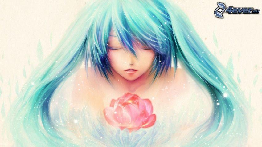 anime flicka, röd blomma
