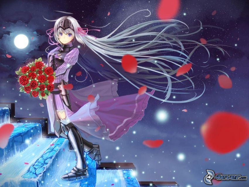 anime flicka, rosenbukett