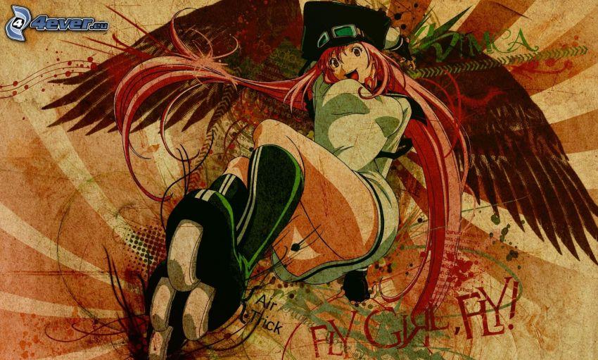 anime flicka, rullskridskor