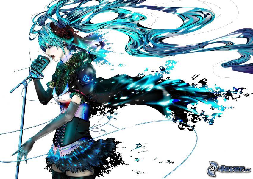 anime flicka, sångerska, blått hår