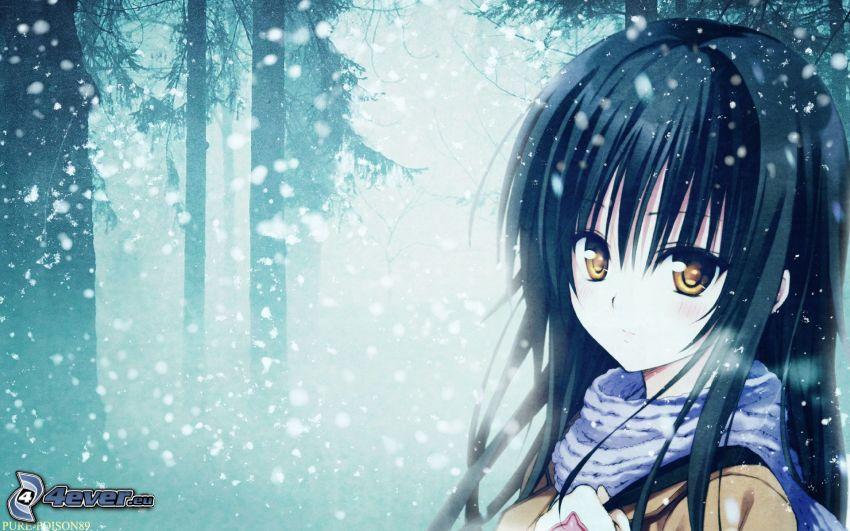 anime flicka, snöig skog