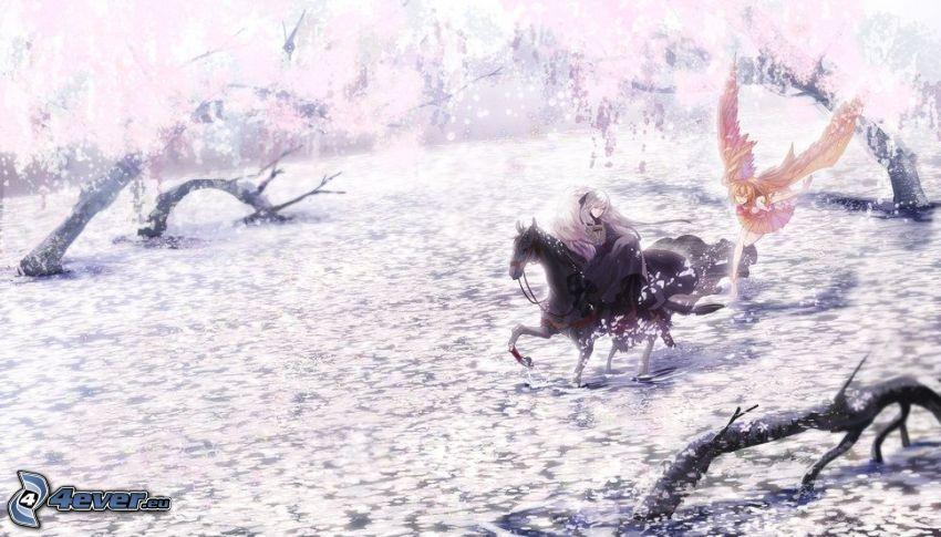 anime flicka, tecknad häst