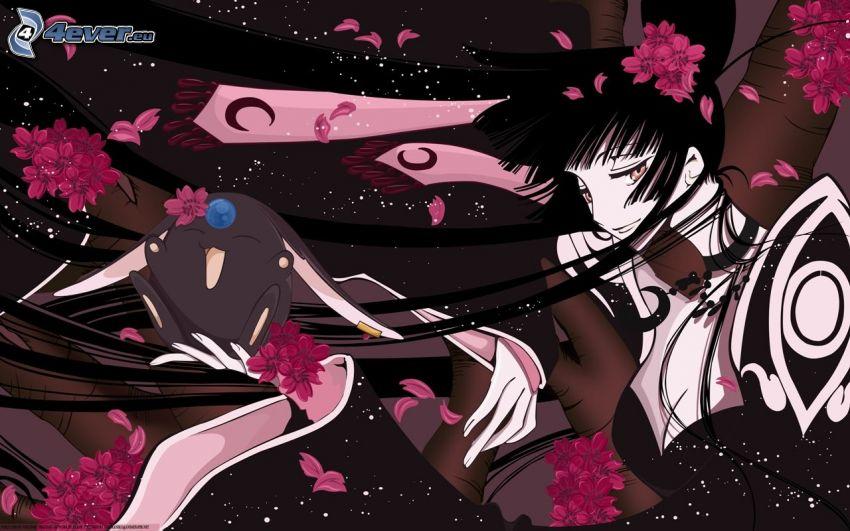 anime flicka, tecknad karaktär