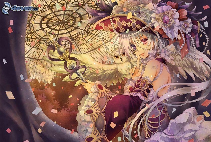 anime flicka, tecknad uggla