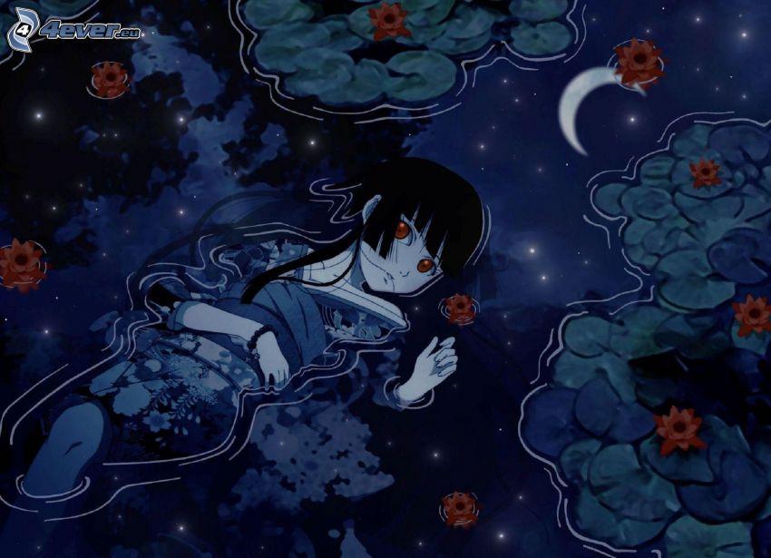 anime flicka, vatten, näckrosor, måne, spegling
