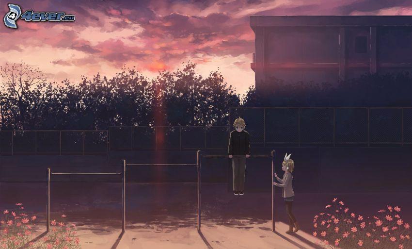 anime kille, anime flicka, träning